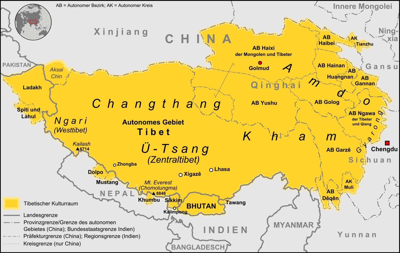 Chantang / Changthang / Qangtang / - Karte Tibetischer Kulturraums © commons.wikimedia.org/wiki/User:Lencer