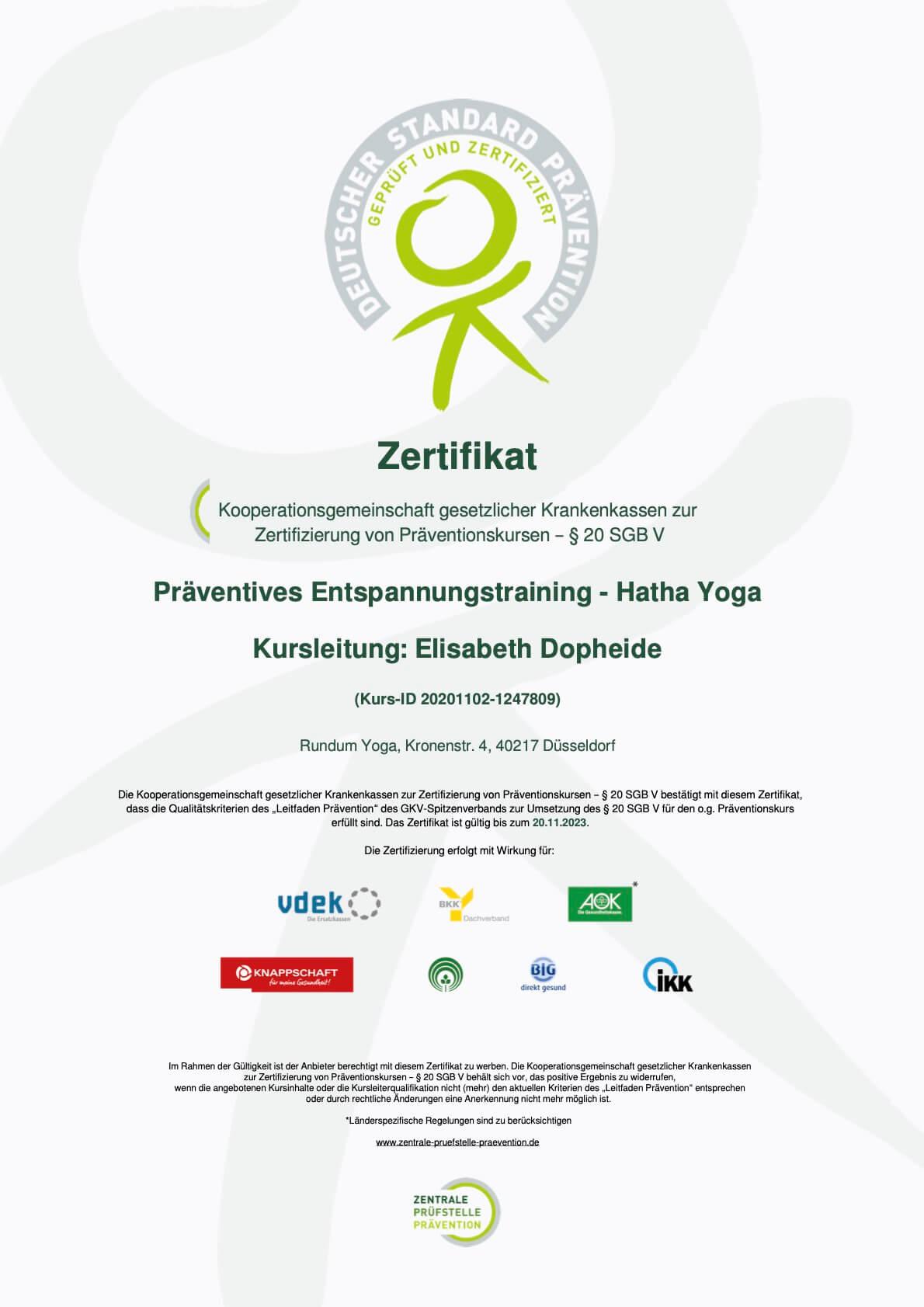 Zertifikat Präventives Entspannungstraining Hatha Yoga Kurs ID 20201102 1247809