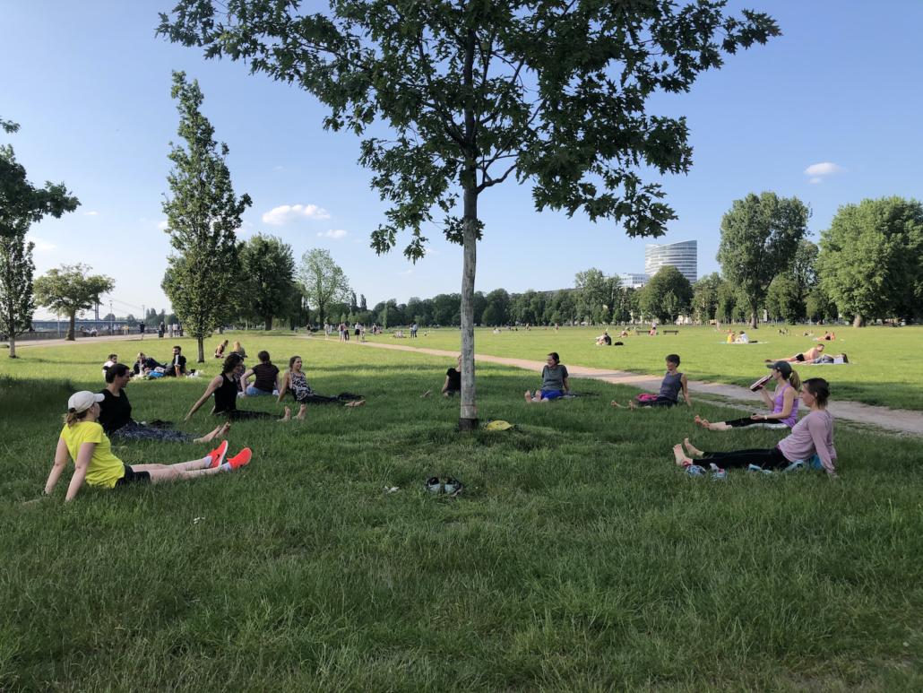 Yoga auf der Rheinwiese mit Rundum Yoga